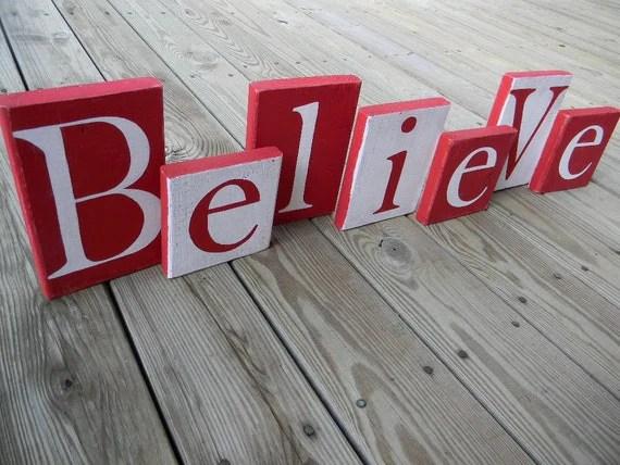 Items Similar To BELIEVE Blocks Believe Block Letters