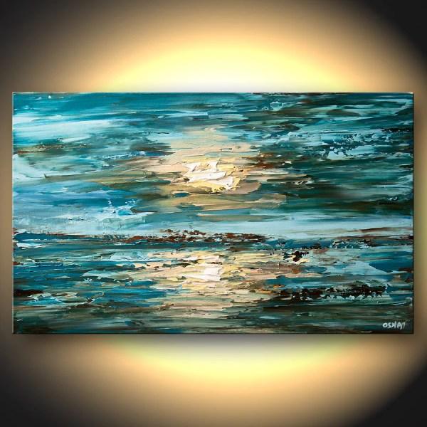 Modern Palette Knife Impasto Blue Original Landscape Painting