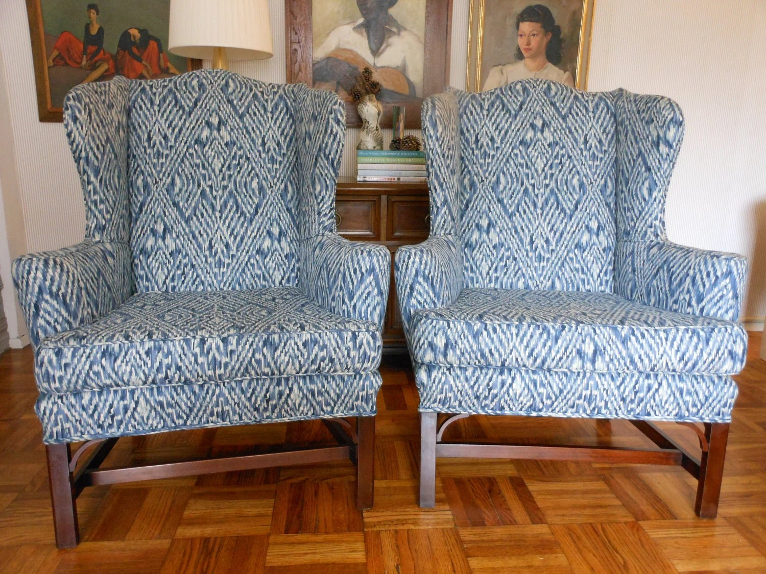 Used Wingback Chairs Pair Of Vintage Chippendale Style Wingback Chairs By Kittinger