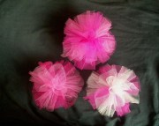 pink scrunchie tulle hair bow clip