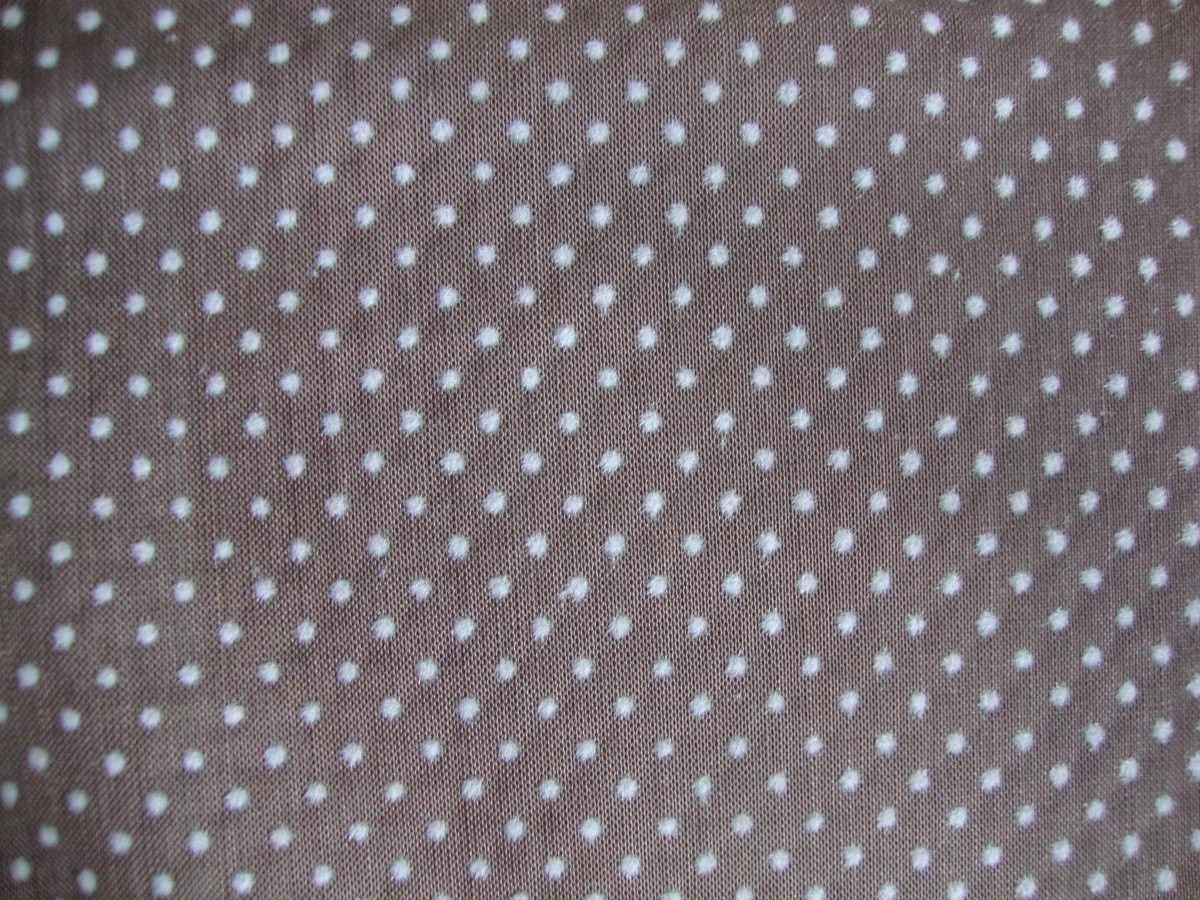 Vintage 70s Grey Swiss Dot Fabric Taupe Cotton Blend White