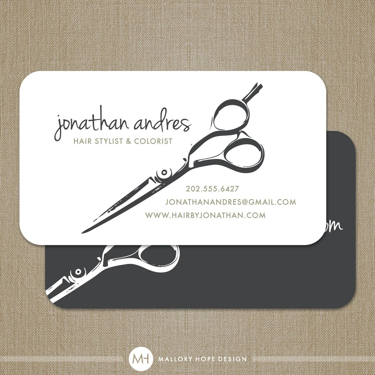 Hair Stylist Shears or Barber Business Card  by MalloryHopeDesign