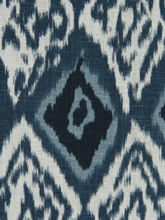 Navy Blue Ikat Upholstery Fabric Indigo Blue Ikat Linen