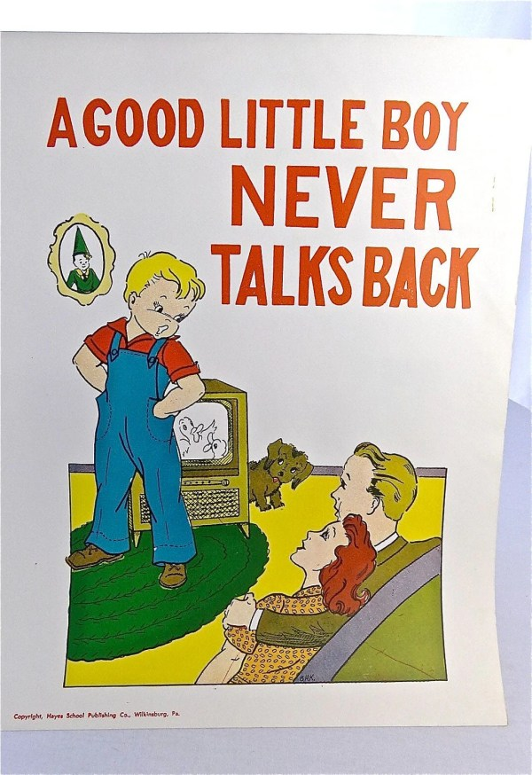 Vintage School Poster 1957 Educational Good Manners Poster