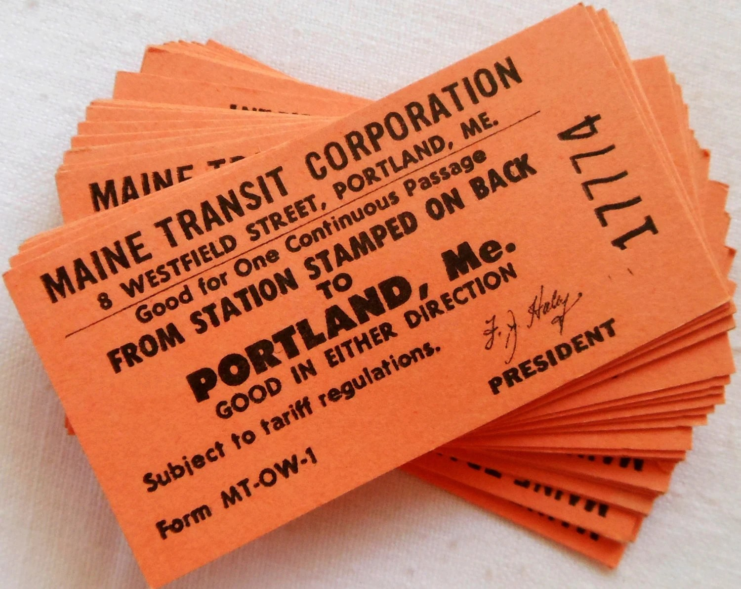 Vintage Orange Train Tickets in Sets of 10 and 25 - Maine Transit Corporation Railroad Ticket to Portland, Maine - LisasCraftShoppe