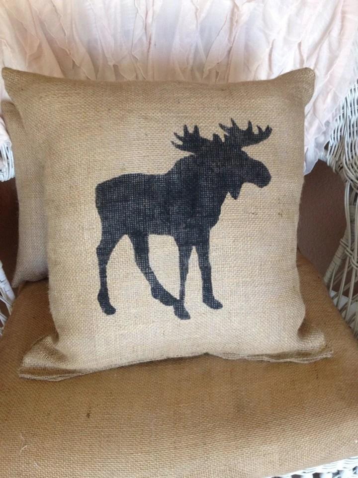 Burlap moose pillow lodge decor rustic decor throw pillow