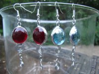 Items similar to Stained glass earrings, Yellow, Ski-blue ...
