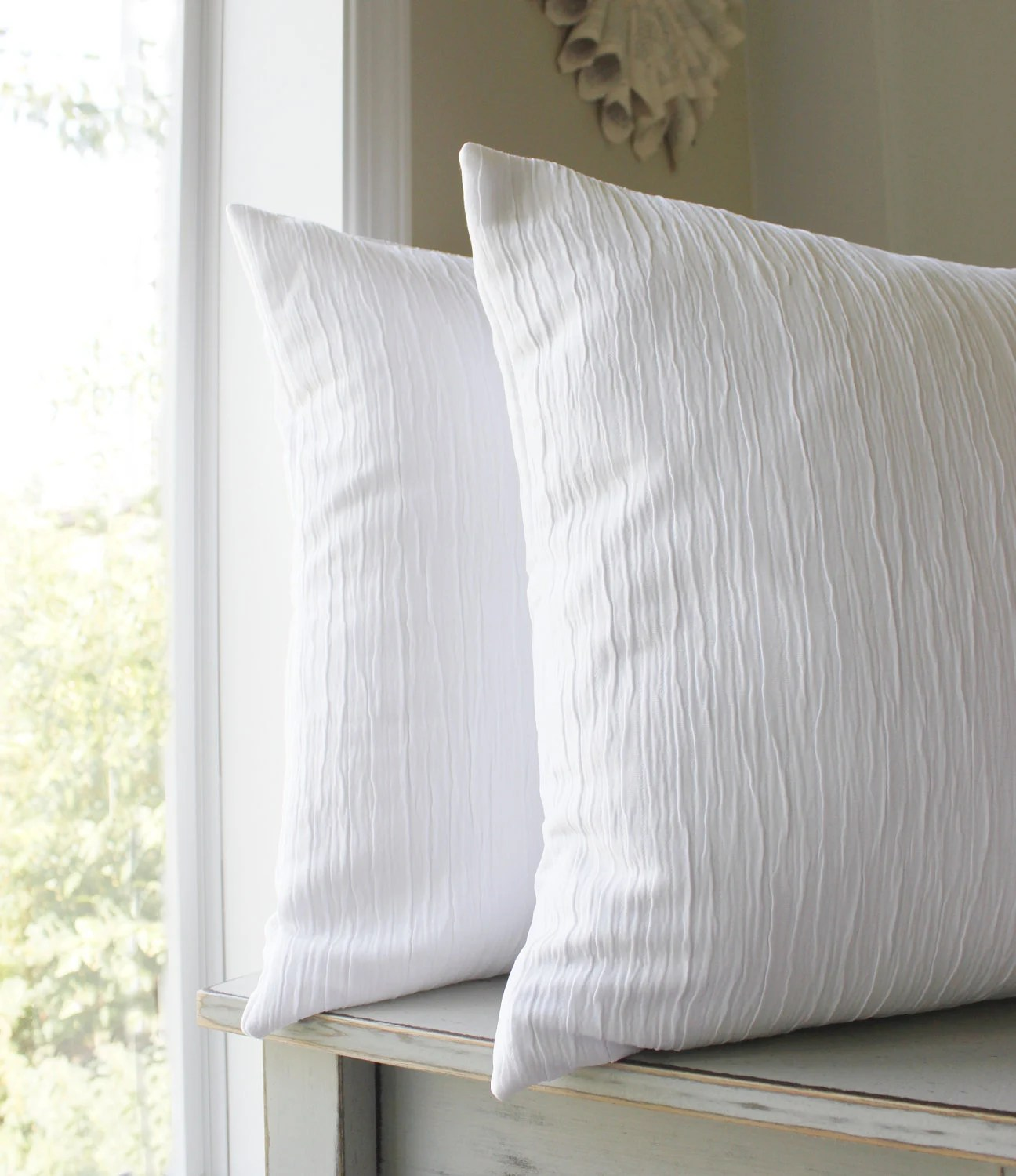 2 Solid White Pillow Covers Textured Throw Pillows White