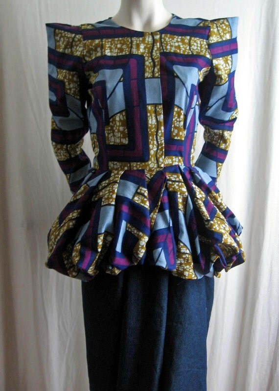 African Wax Print Peplum Jacket Also available in solid