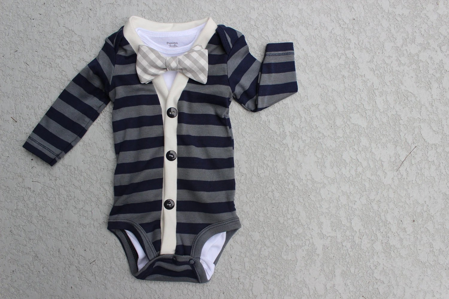 Cardigan and Bow Tie Onesie Set - Navy and Grey Gingham - Trendy Baby Boy