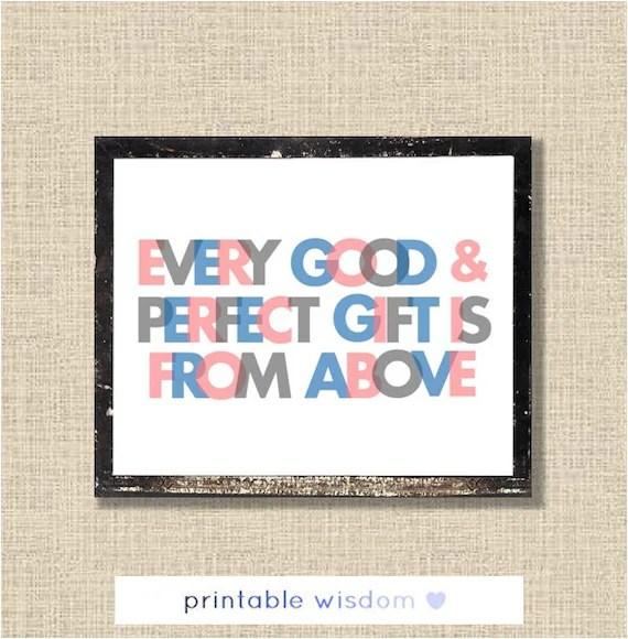 Nursery Bible Verse Printable, Scripture Print James 1:17 baby, christian wall art decor poster, every good and perfect gift, digital