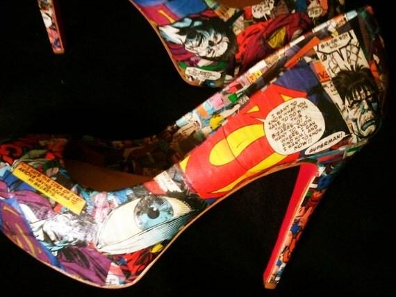 Bizarro Superman - Comic Book Heels - Comic Book Shoes - DC Comics - Platform Pumps - Custom