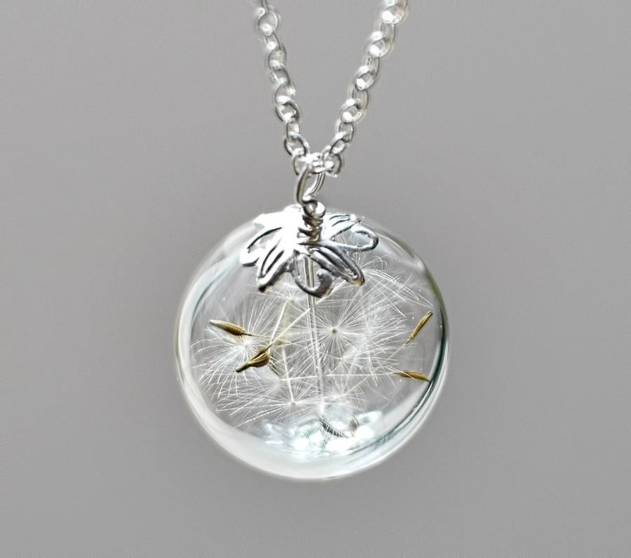 Dandelion Necklace Silver Make A Wish Glass By TheHangingGarden
