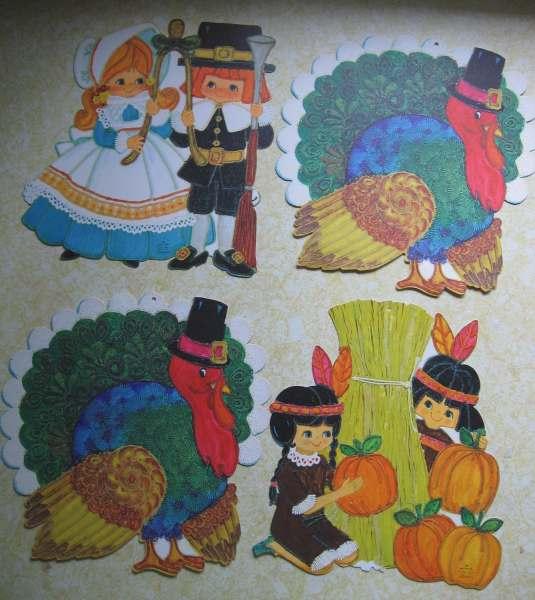 vintage thanksgiving decorations Vintage Thanksgiving Decorations Hallmark Diecut Turkeys
