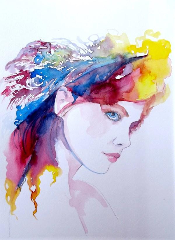 Watercolor Fashion Illustration Painting