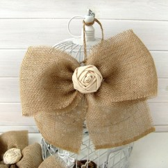 Burlap Bows For Wedding Chairs Woven Dining Bow Rustic Fabric Rose Pew Aisle Decor