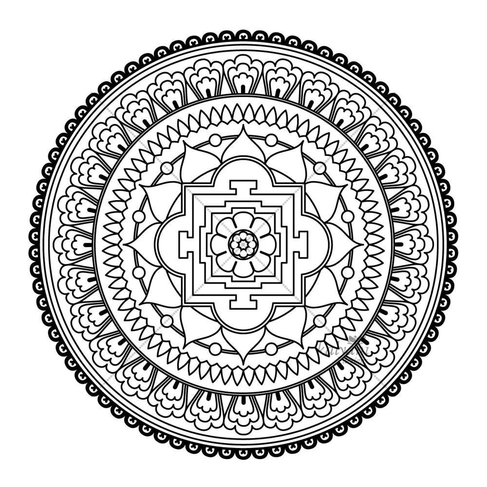 FIVE Mandala Colouring Pages Printable Digital Sheets