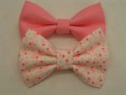 set of two hair bows pink hearts