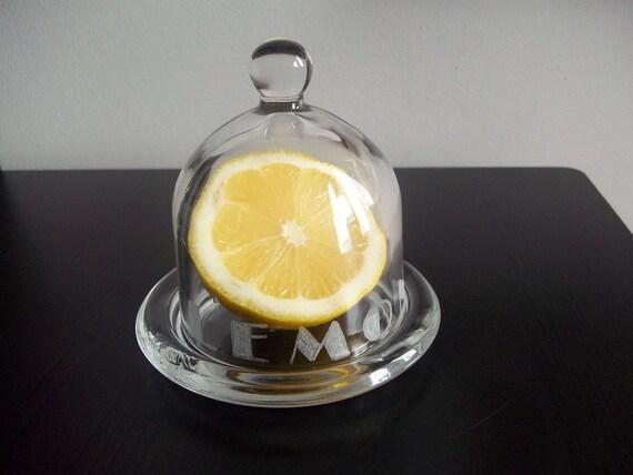 lemon dome clear bottom lemon holder glass tray by MageDeco