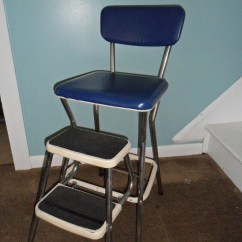 Chair Stool Difference Maloof Rocking Plans Vintage Cosco Royal Blue Kitchen Step