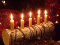 YULE LOGWhite birch log a rustic candle holder with style