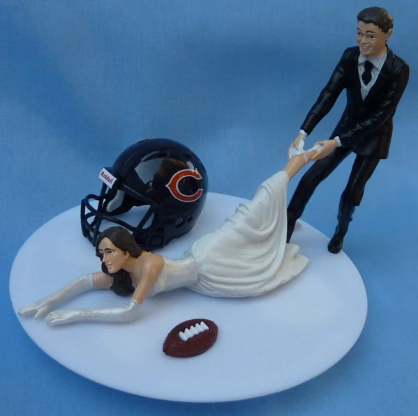 Wedding Cake Topper Chicago Bears G Football Themed w by WedSet