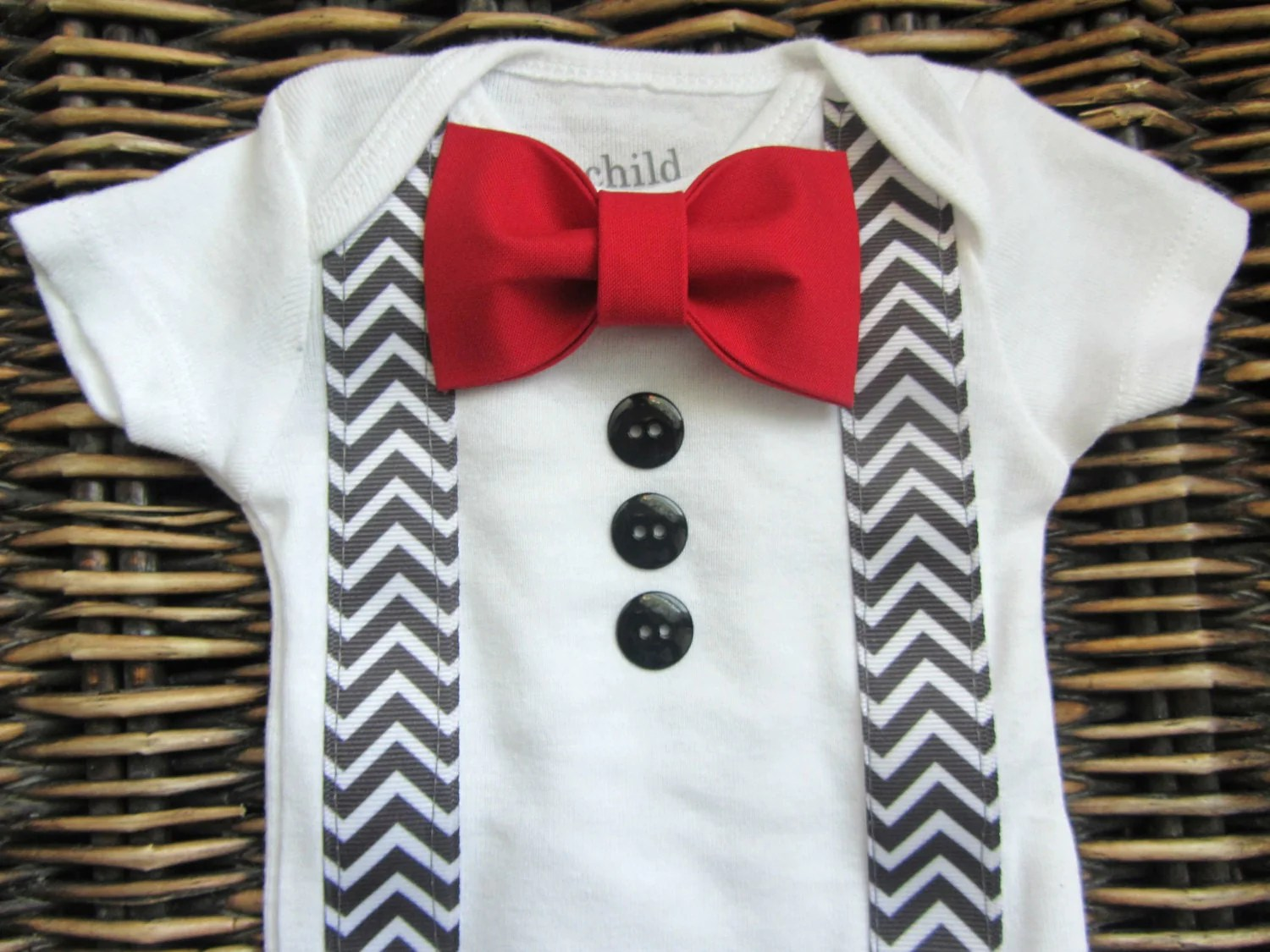 Baby Boy Clothes Baby Tuxedo Bodysuit Red Bow Tie Grey