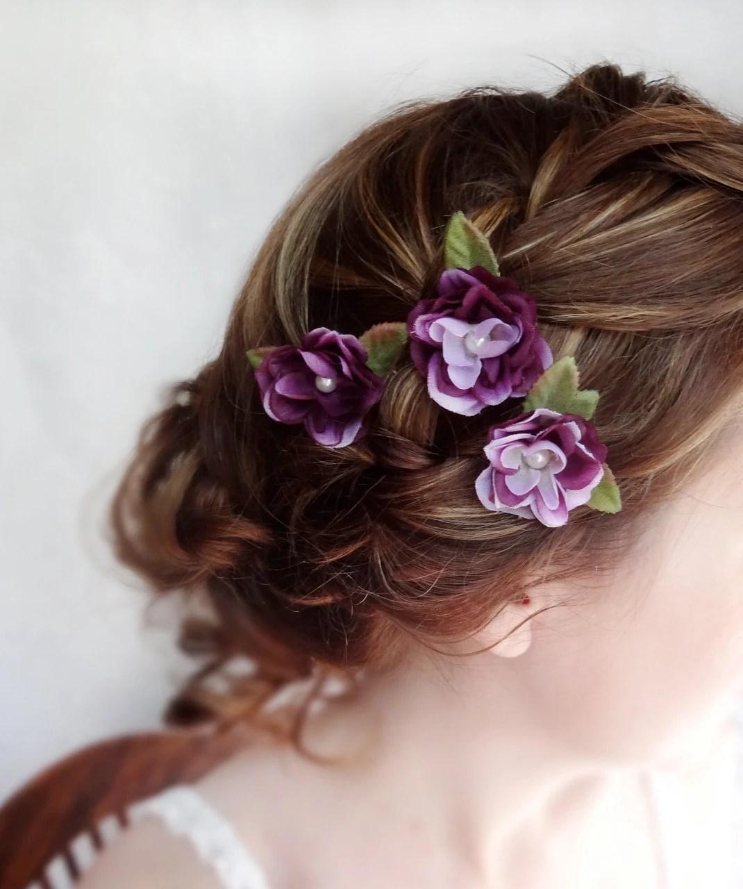 Items similar to eggplant flower hair accessory purple