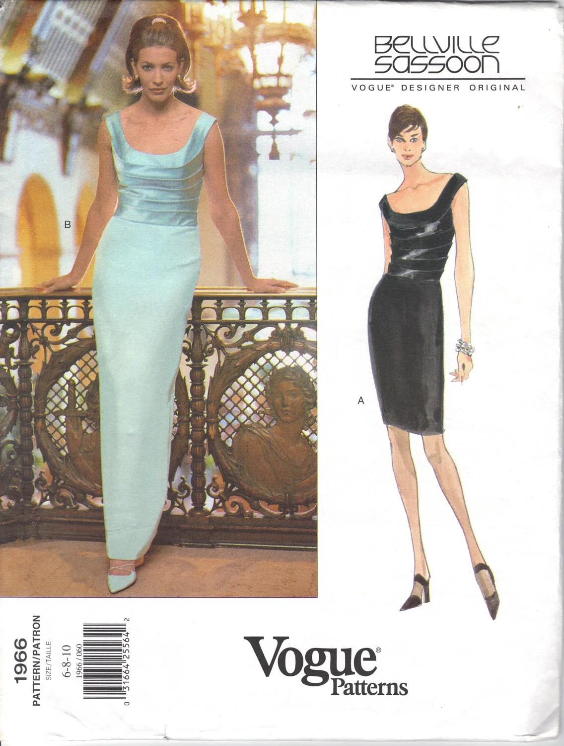 1990s Bellville Sassoon formal dress pattern - Vogue 1966