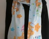 CAREBEAR and clouds upcycled scarf