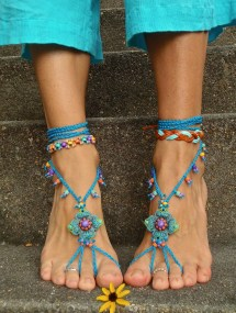 Blue Hippie Barefoot Sandals Crochet Beaded