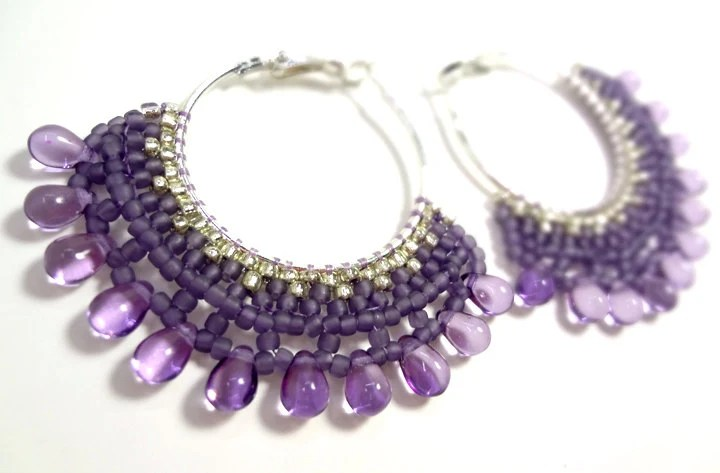 Purple Earrings - Dangling Chandelier Hoops - MegansBeadedDesigns