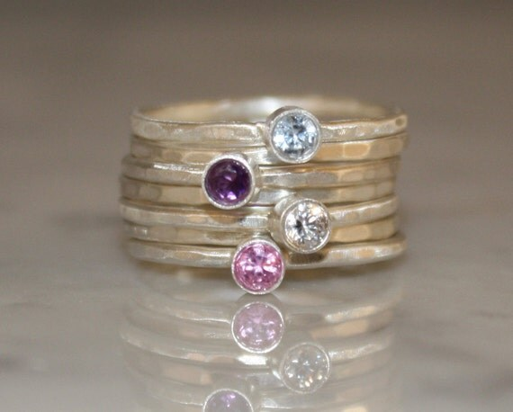 4 Gemstones Birthstone stacking rings Mothers and Family