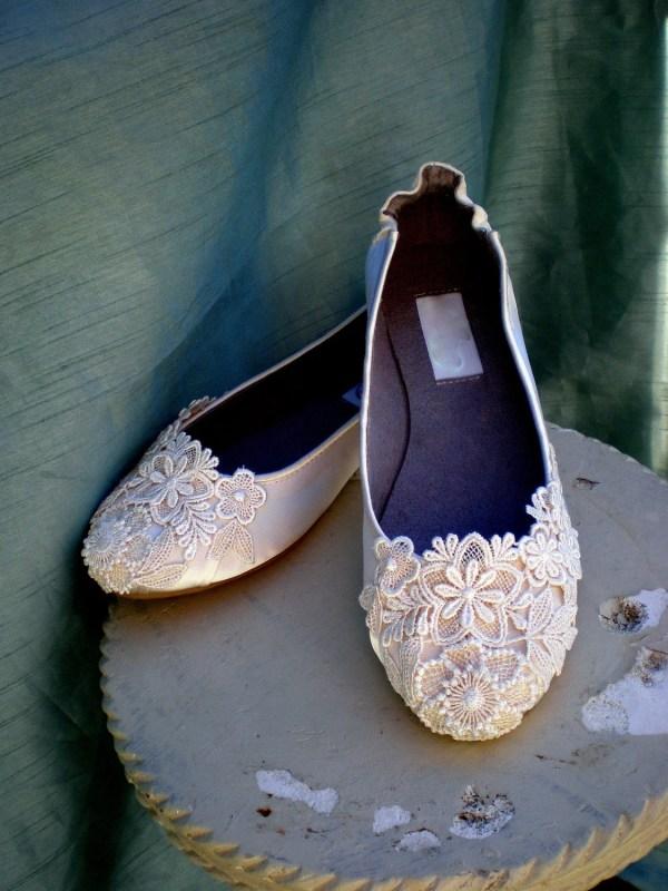 Ivory Wedding Flats Bridal Size 7