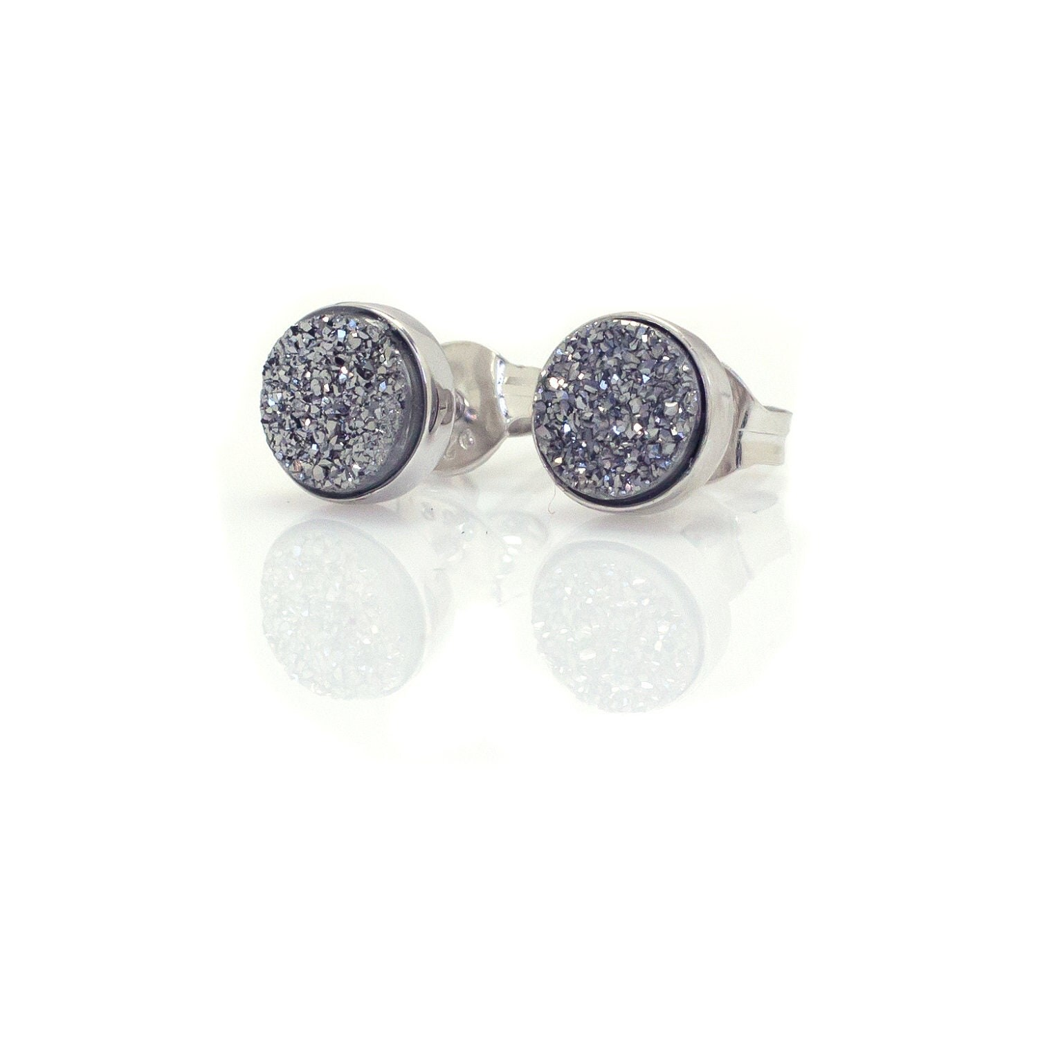 Silver Drusy Quartz Stud Earrings Sterling Silver 6mm