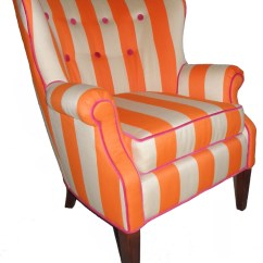 Striped Wingback Chair Leather Vintage Orange