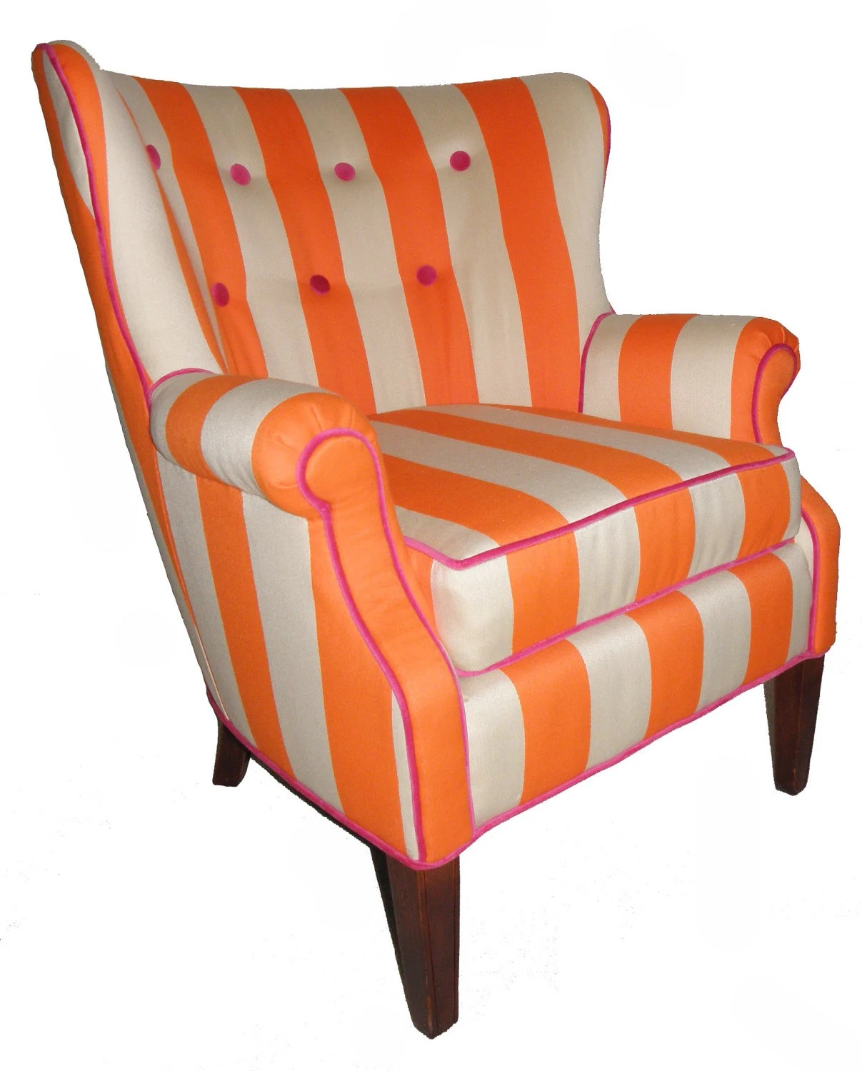 Orange Wingback Chair Vintage Orange Striped Wingback Chair