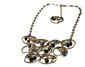 Glamourous delights, necklace made with black, bronze, gold czech glass beads, Picasso, opaque and antiqued brass irregular shapes - BBTAR