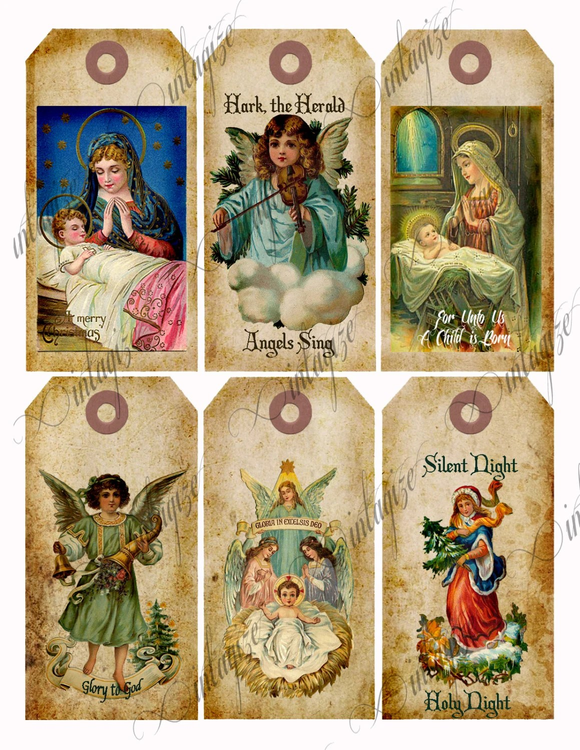 Religious Christmas Tags Download Printable Vintage Victorian