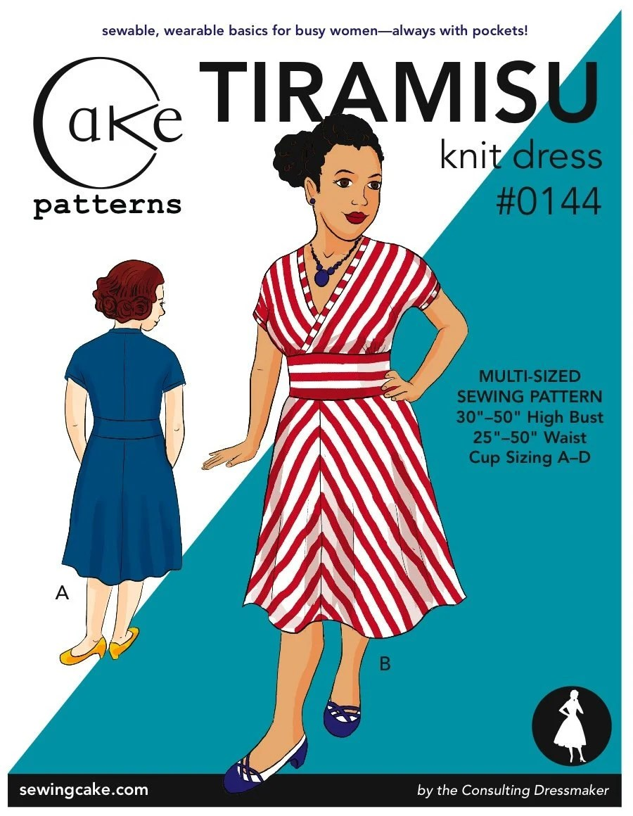 "Tiramisu Dress from Cake Patterns- Multi-Size 30""-50"" high bust, 25""-50"" waist"