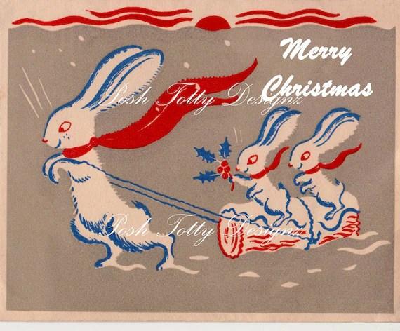Bunnies In The Snow Christmas Art Deco 1930s Vintage Greetings