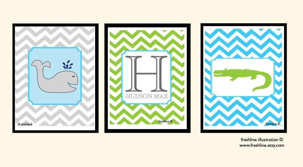 Nursery Wall Decor - Babies Room - Children's Room - Monogram, Chevron, Dots - Alligator, Whale, Letter - Set of Three 8x10 Art Prints