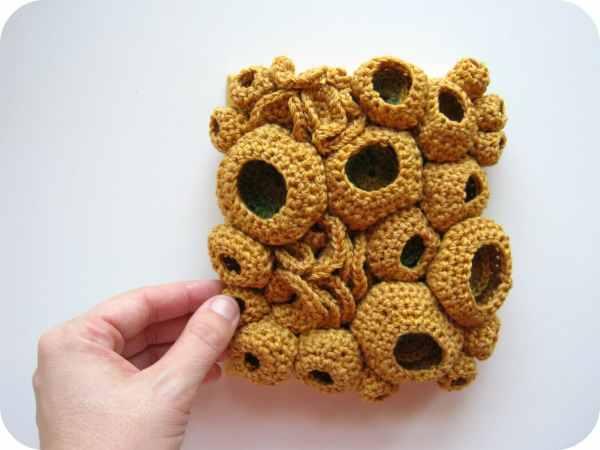 Modern Fiber Art Crochet Soft Sculpture Coral Reef Wall