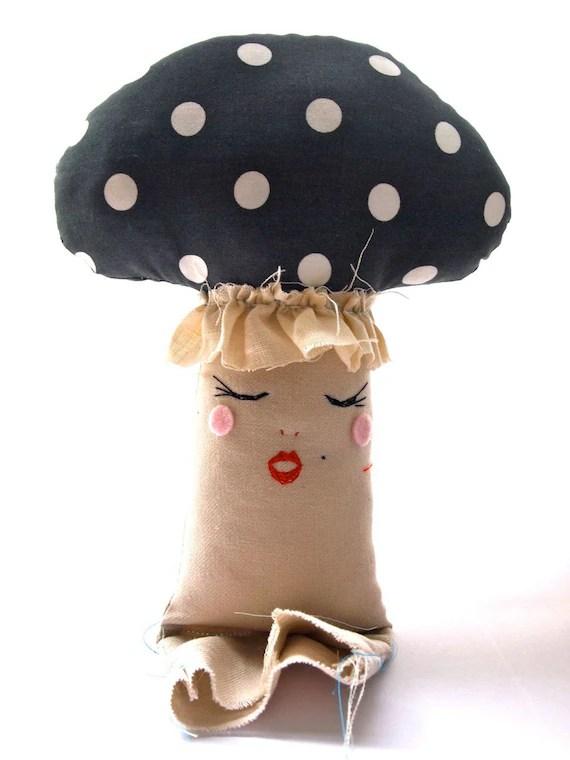Cloth mushroom toadstool plush softie art doll grey cream polka dot anthropomorphic