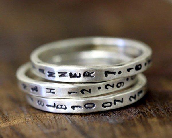 Custom Stamped Sterling Silver Ring Thin Band Set Of 3