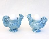 Pair of Rooster Egg Cups in Stoneware with Light Blue Glaze - gutentagfibers