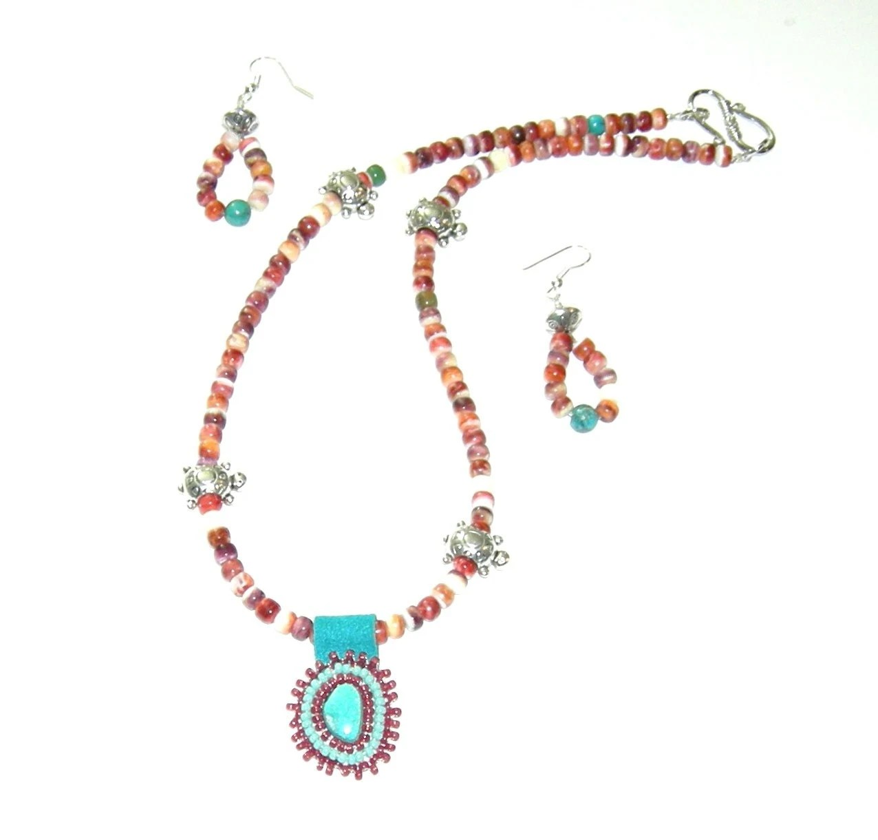 Spiny Oyster turquoise pendant necklace earrings set