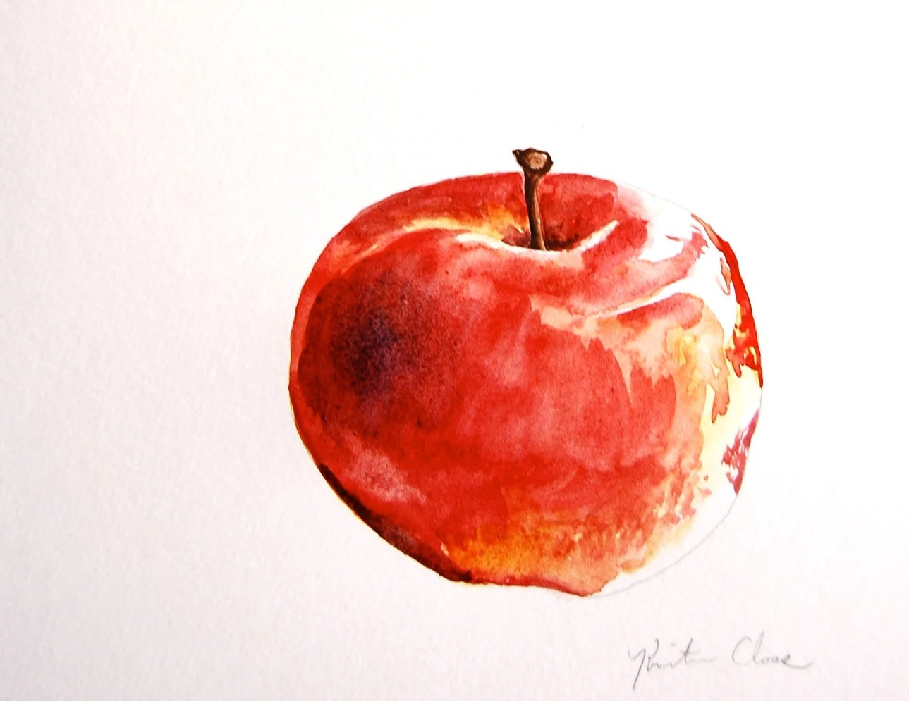 Watercolor Painting Original Apple Study Small Painting