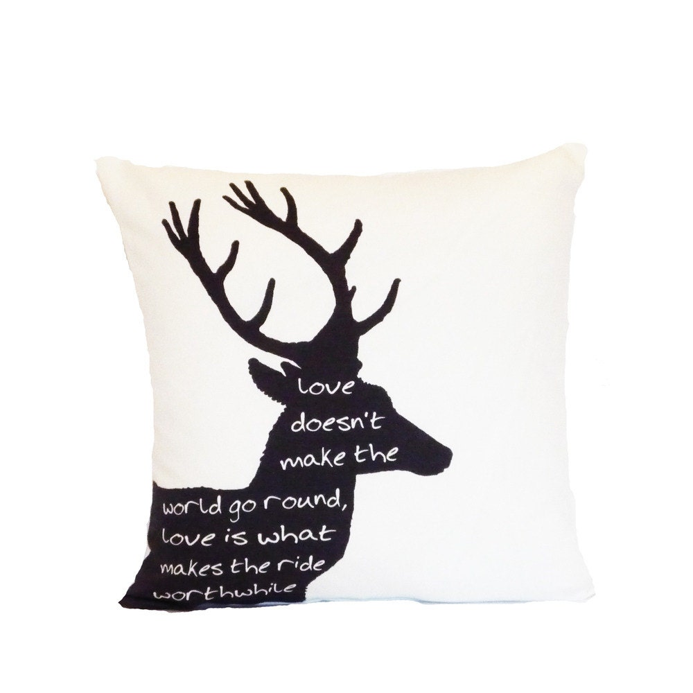 silhouette deer typography quote love pillow cover throw