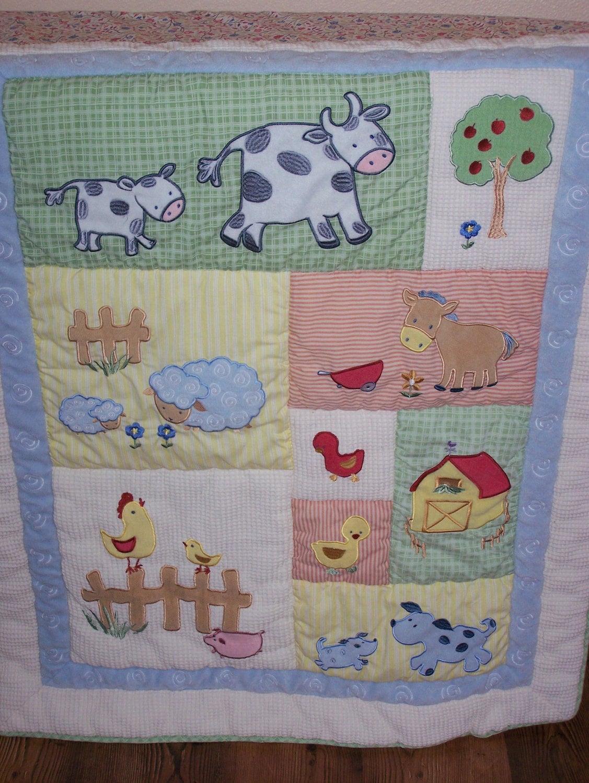 Baby Quilt Lightweight Farm Animals Free Ship